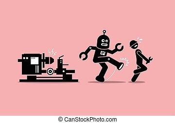 calci, suo, umano, lontano, lavoratore, robot, tecnico, lavoro, meccanico, factory.