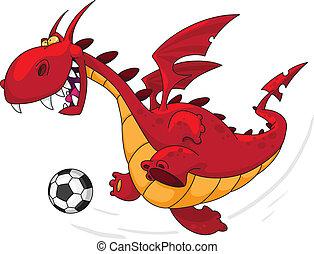 calciatore, drago