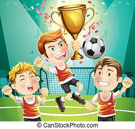 calcio, bambini, campione