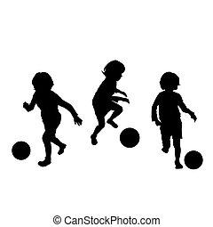 calcio, bambini giocando