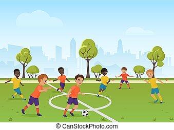 calcio, bambini scuola, illustration., game., football, gioco, ragazzi, vettore, field., sport, cartone animato