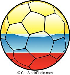 calcio, bandiera, palla, colombia