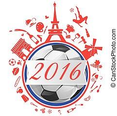 calcio, bandiera, palla, fondo, francia