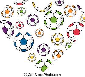 calcio, cuore, football
