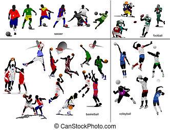 calcio, football, illustrazione, vettore, giochi, volleyball., pallacanestro, ball.