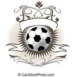 calcio, (football), palla, grunge, fondo