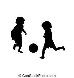 calcio, gioco, due, bambini