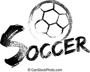 calcio, grunge, riga di arresto