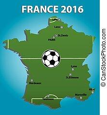 calcio, map., stadio, francia