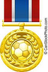 calcio, medaglia, football