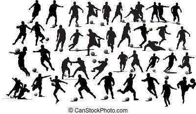 calcio, players., illustrazione, vettore, nero, bianco, grafici