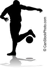 calcio, silhouette, giocatore football