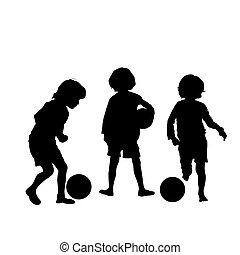 calcio, silhouette, vettore, bambini