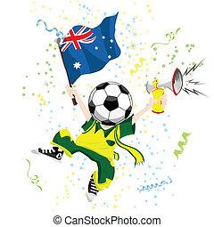 calcio, testa, australia, ventilatore, palla