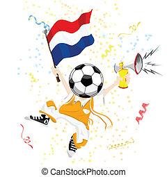 calcio, testa, palla, ventilatore, olandese