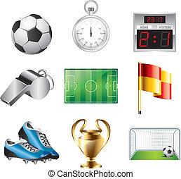 calcio, vettore, set, icone