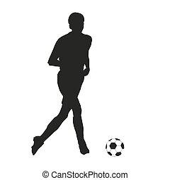 calcio, vettore, silhouette, player.