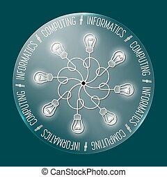 calcolare, astratto, informatics;, parole, cerchio, trasparente