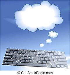 calcolare, chiavi, computer, fondo, galleggiante, bolla, pensare, nuvola