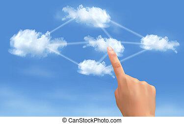 calcolare, concept., mano, toccante, collegato, vector., clouds., nuvola