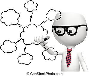 calcolare, esso, far male, programmatore, disegno, nuvola, piano