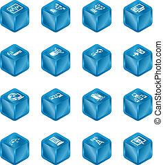 calcolare, icone, rete, set., cubo, serie