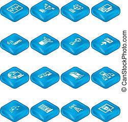 calcolare, icone, rete, set., serie