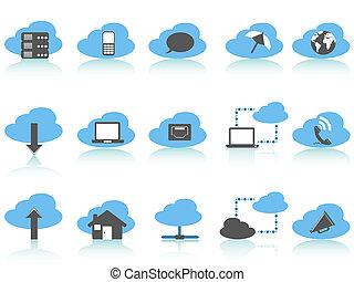 calcolare, nuvola, icone, blu, set, serie, semplice