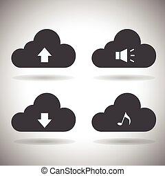 calcolare, nuvola, icons., vector.