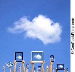 calcolare, nuvola, tenere mani, far male, tavoletta, tocco, concept., telefono, computer, laptop, cuscinetto