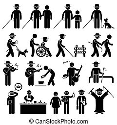 calcolare uomo, handicap, bastone, cieco