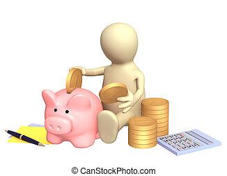 calcolatore, burattino, banca, piggy
