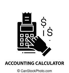 calcolatore, colpi, illustrazione, vettore, contabilità, concetto, icona, nero, segno, editable
