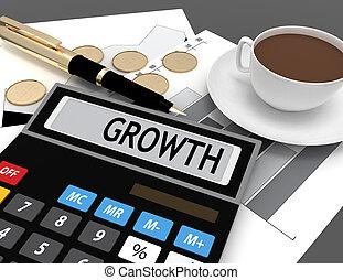 calcolatore, crescita, parola, mostra, 3d