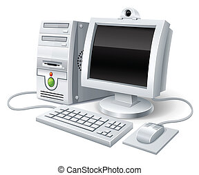 calcolatore pc, topo, monitor, tastiera