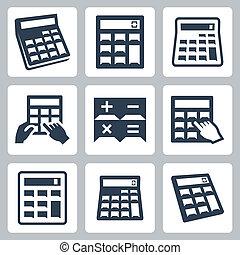 calcolatrici, vettore, set, icone