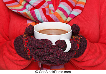 caldo, donna, tazza, presa a terra, cioccolato