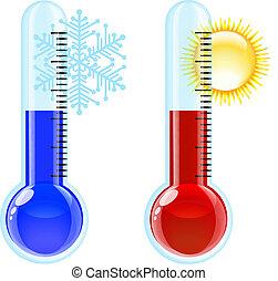 caldo, freddo, icon., termometro