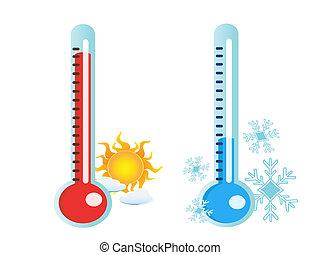 caldo, freddo, temperatura, termometro