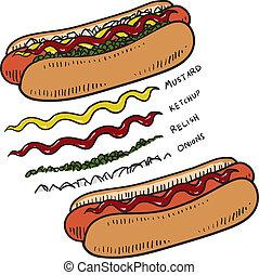 caldo, schizzo, condimenti, cane
