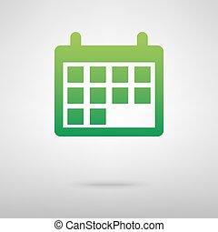 calendar., uggia, verde, icona