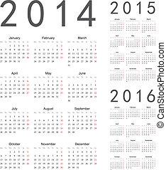 calendari, vettore, anno, 2016, 2015, 2014, europeo