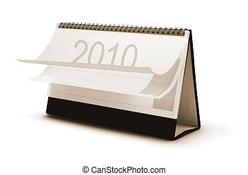 calendario, 2010, scrivania