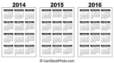 calendario, 2014-2015-2016