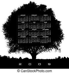calendario, albero