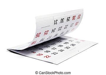 calendario, aperto