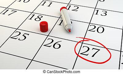 calendario, appuntamento, giorno, circondato