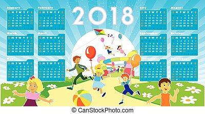 calendario, bambini, 2018