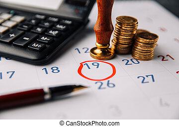calendario, calcolatore, primo piano, monete