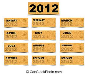 calendario, carta, 2012